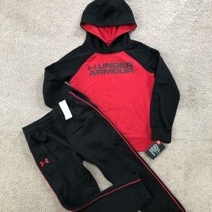 Youth size 6 under armour hoodie & joggers NWT